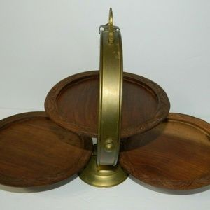Other - Vintage 3 Tier Wood & Brass Folding Severing Tray